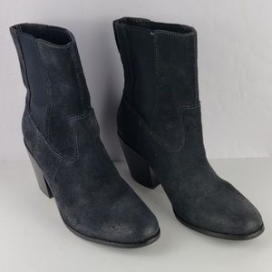 COLE HAAN Hayes Chelsea Black Suede Pull On Boot